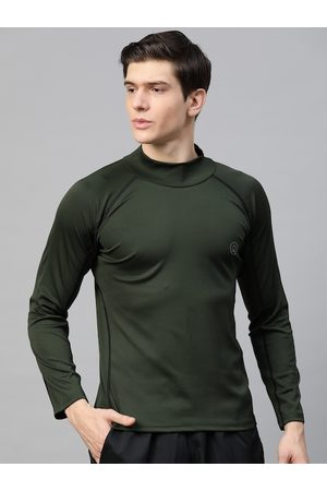 CHKOKKO Men Olive Green Solid Dri-FIT High Neck Gym T-shirt