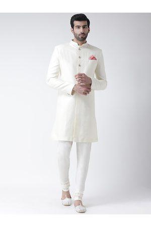 KISAH Men White Printed Sherwani Set
