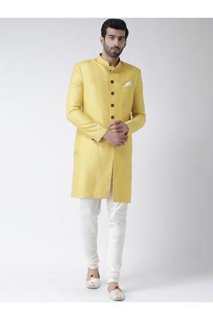 KISAH Men Yellow & White Self-Design Sherwani Set
