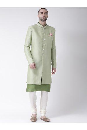 KISAH Men Green Self-Design Sherwani Set