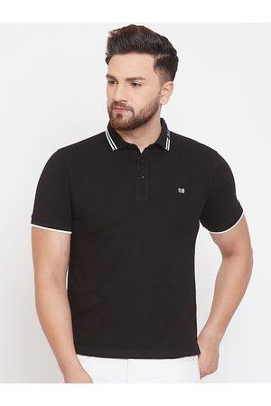 Okane Men Black Solid Polo Collar T-shirt