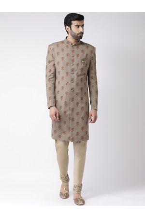 KISAH Men Grey & Maroon Printed Sherwani Set