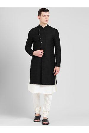 KISAH Men Black & White Printed Sherwani Set