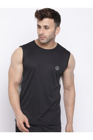 CHKOKKO Men Grey & Black Colourblocked Dri-FIt Round Neck T-shirt