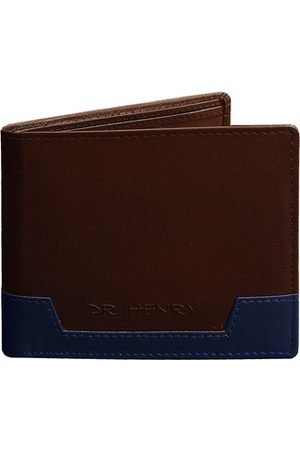 DR. HENRY Men Tan Brown Textured Leather Two Fold Wallet