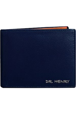 DR. HENRY Men Blue Textured Leather Two Fold Wallet
