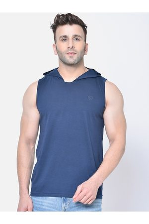 CHKOKKO Men Navy Blue Solid Hood T-shirt