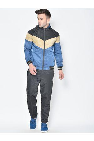 CHKOKKO Men Black & Blue Colourblocked Reversible Hooded Tracksuit
