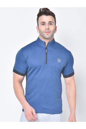 CHKOKKO Men Blue Solid Mandarin Collar T-shirt