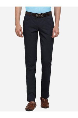 JADE BLUE Men Navy Blue Slim Fit Solid Pure Cotton Regular Trousers