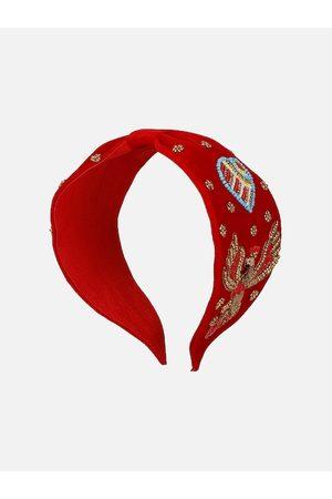 Anekaant Red Beaded Hairband