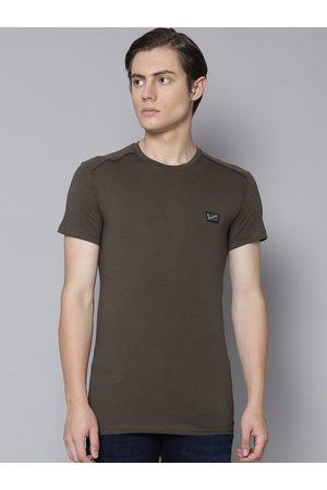 Antony Morato Men Olive Green Solid Round Neck T-shirt