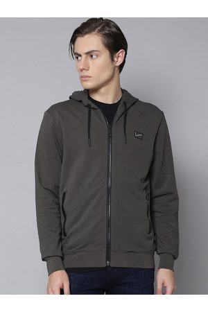 Antony Morato Men Charcoal Solid Hooded Sweatshirt