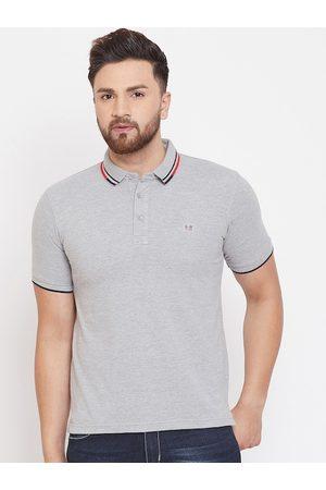 Okane Men Grey Solid Polo Collar T-shirt