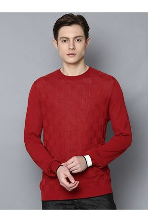 Antony Morato Men Red Checked Cotton Pullover Sweater