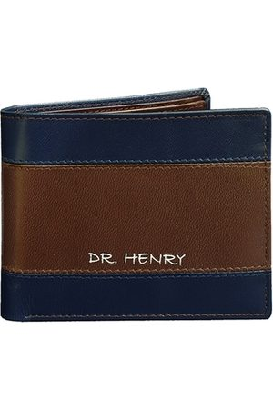 DR. HENRY Men Brown & Navy Blue Textured Two Fold Wallet