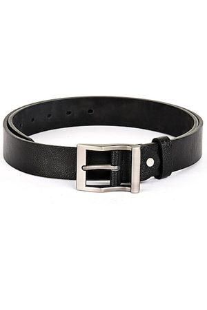 BuckleUp Men Black & Silver-Toned Textured Belt