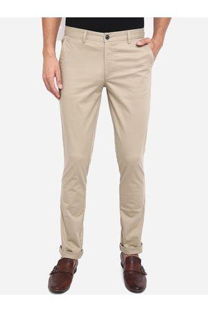 JADE BLUE Men Khaki Slim Fit Pure Cotton Trousers