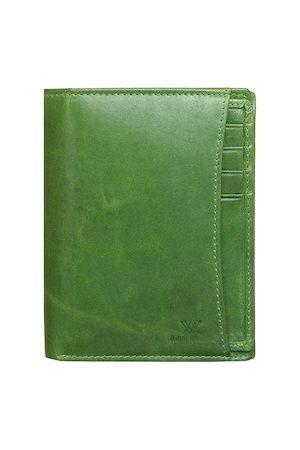 Aditi Wasan Men Wallets - Men Green Solid Leather Two Fold Wallet