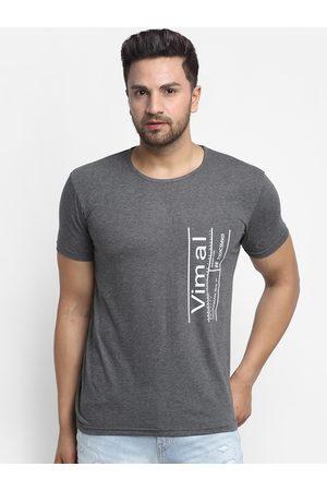 VIMAL JONNEY Men T-shirts - Men Grey Printed Round Neck T-shirt