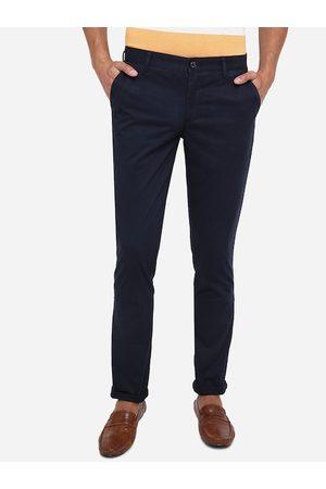JADE BLUE Men Navy Blue Slim Fit Pure Cotton Chinos
