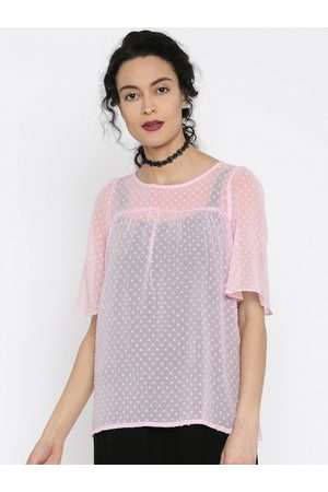 Miss Chase Women Pink Sheer Top