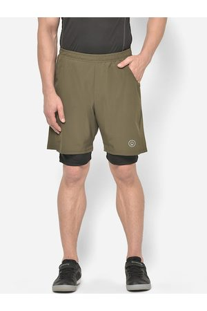 CHKOKKO Men Olive Green Solid Regular Fit Double Layered Running Shorts