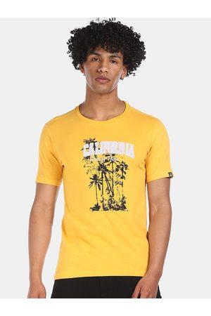 Cherokee Men Mustard Yellow Printed Round Neck T-shirt