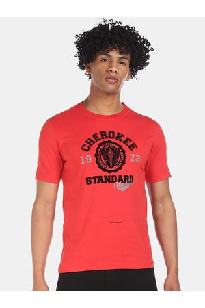 Cherokee Men Red Pure Cotton Printed Round Neck T-shirt