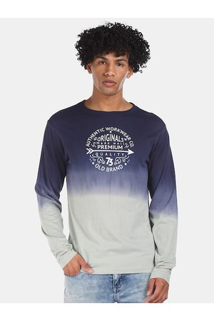 Cherokee Men Blue Pure Cotton Printed & Dyed Round Neck T-shirt