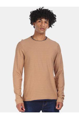 Cherokee Men Beige Self Striped Round Neck T-shirt