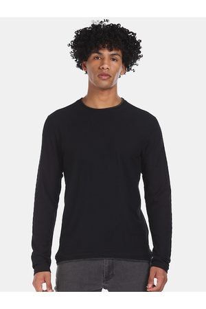 Cherokee Men Black Solid Round Neck T-shirt