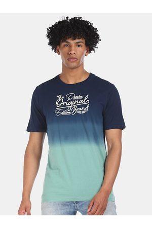 Cherokee Men T-shirts - Men Blue Pure Cotton Printed & Dyed Round Neck T-shirt