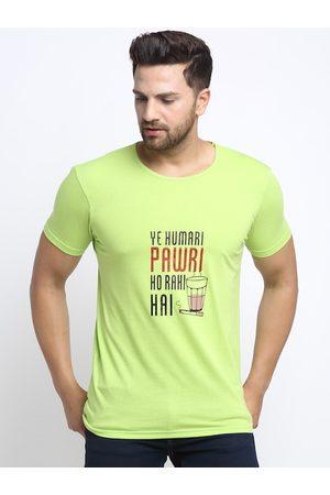 VIMAL JONNEY Men Green & Black Printed Round Neck T-shirt