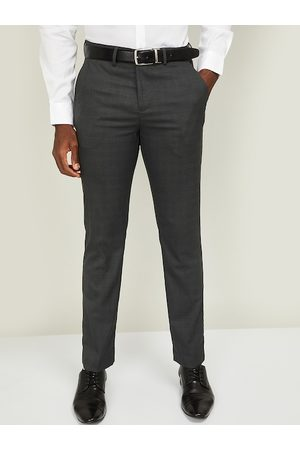 Lifestyle Men Charcoal Grey Slim Fit Solid MELLOW Formal Trousers