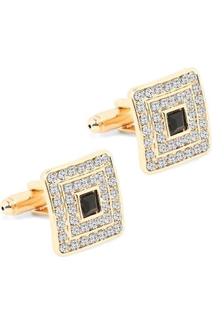 Yellow Chimes Jewellery Men Gold-Plated Black Square Cufflinks