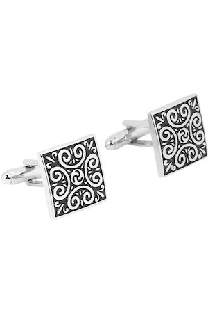 Yellow Chimes Jewellery Men Black Engraved Contemporary Square Cufflinks