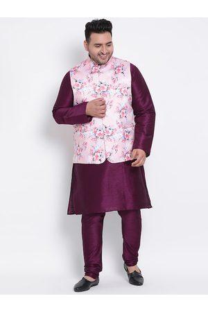 Hangup Men Purple Solid Kurta with Churidar and Nehru Jacket