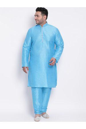 Hangup Men Blue Solid Kurta with Pyjamas
