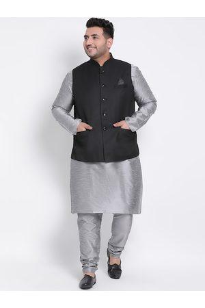 Hangup Men Multicoloured Solid Kurta with Pyjamas & Nehru Jacket
