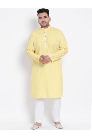 Hangup Men Yellow & White Solid Kurta with Pyjamas