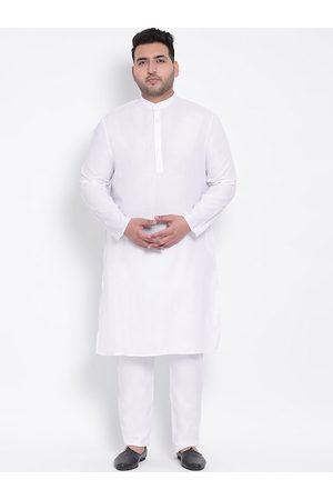 Hangup Plus Size Men White Solid Kurta with Pyjamas