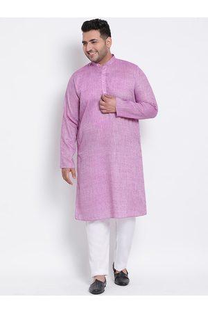 Hangup Men Purple & White Solid Kurta with Pyjamas