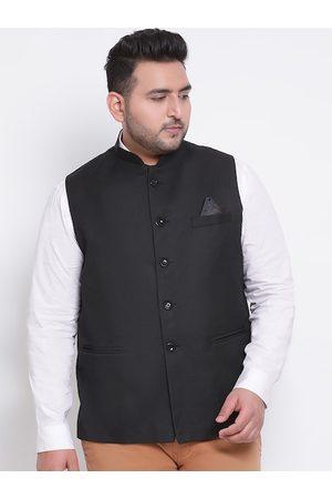 Hangup Men Jackets - Men Black Solid Woven Nehru Jacket