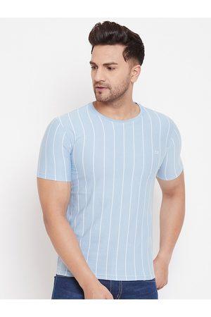 Okane Men Blue Striped Round Neck T-shirt