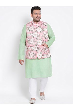 Hangup Men Pyjamas - Men Green & White Solid Kurta with Pyjamas