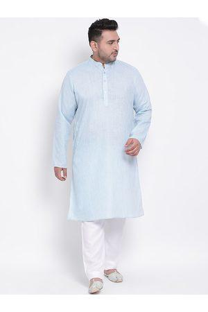Hangup Men Pyjamas - Men Blue & White Solid Kurta with Pyjamas