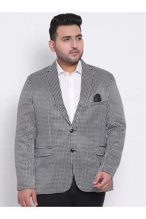Hangup Men Black & White Printed Single-Breasted Party Blazer