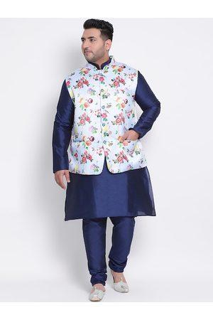 Hangup Men Blue Solid Kurta with Pyjamas & Nehru Jacket