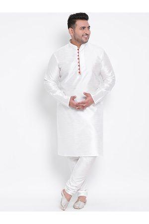 Hangup Men Pyjamas - Men White Solid Kurta with Pyjamas
